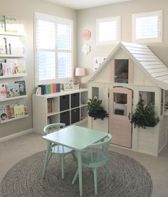 48 Awesome Playroom Design Ideas For Kids Kids Playroom Playroom Playroom Design, Playroom Decor, Playroom Color Scheme, Kids Rooms Decor, Playroom Layout, Playroom Table, Room Decorations, Wall Decor, Cubby Houses