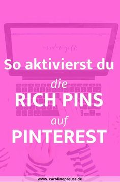 Pinterest Rich Pins einrichten: Komplettes Pinterest Tutorial für Anfänger. Die Rich Pins sind eine geniale Funktion, um deine Pinterest-Pins so richtig zu pushen! Warum? Ganz einfach: Mithilfe der Rich Pins verifizierst du deine Pins und Pinterest sammelt Extra-Infos wie die Metabeschreibung und deine Blogpost-Überschrift ein. Außerdem werden Rich Pins besser höher in den Pinterest-Suchergebnissen platziert und du hast somit eine erhöhte Chance auf virale Pins. Genial, oder? Also, nix wie…