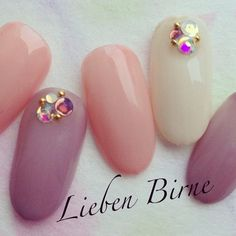 ネイル Gem Nails, Nail Manicure, Love Nails, Pretty Nails, Hair And Nails, Asian Nails, Japanese Nails, Fabulous Nails, Stylish Nails