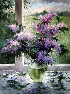 Lilac Painting, Oil Painting Flowers, Watercolor Flowers, Watercolor Paintings, Still Life Art, Acrylic Art, Beautiful Paintings, Art Blog, Painting Inspiration