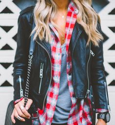 plaid + leather
