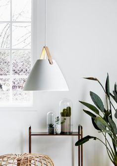 Shop Lighting Collective for this popular modern pendant light with lovely leather strap. Bring home elegant and affordable Danish lighting by Nordlux. Ceiling Pendant, Pendant Lighting, Ceiling Lights, White Pendant Light, Curtains With Blinds, Design Awards, White Walls, Decoration, Scandinavian Design