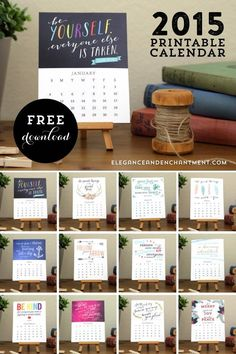 Free Printable 2015 Motivational Desk Calendar from Elegance and Enchantment