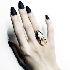 Roe ring by Macabre Gadgets: sterling silver, gold, coral Available at STORE-MACABREGADGTES.COM