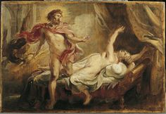 Hera tricked Semele into making Zeus reveal his true form to her. Since mortals cannot look upon gods in their true form, Semele died Peter Paul Rubens, Rubens Paintings, Zeus Jupiter, Satyr, Urban Legends, Classical Art, Dionysus, Greek Gods, Museum Of Fine Arts