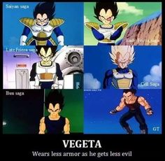 Wears less armor as he gets stronger Funny Pics, Funny Pictures, Funny Memes, Dragon Ball Z, Vegeta And Bulma, Hero Movie, True Facts, Kai, Postcards