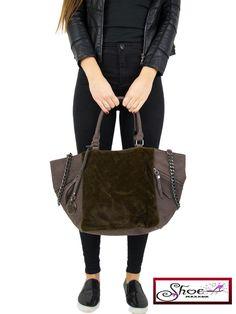 Fur Look Tote Shoulder Bag Oversize Shopping Handbag BROWN