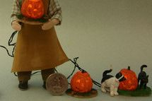 Lemax Spooky Town Pumpkin Lights are close to 1:12 dolls house size in scale. - Photo copyright 2009 Lesley Shepherd, Licensed to About.com Inc.