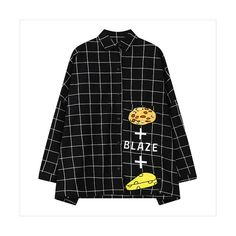 Black Pizza Cheese Plaid Blouse 15BL00054-2 (2505 DZD) ❤ liked on Polyvore featuring tops, blouses, black, print top, print blouse, pattern blouse, mixed print top and plaid top