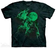 Three Wolf Moon Glow Kids T-Shirt