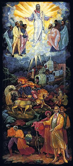 """""""Our Divine Heritage"""" by LDS artist Maria Makarova. Created in the style of Russian iconography, it is a fantastic tableau of Mormon church history. The layout of the art piece is also quite lovely."""
