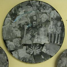 Decoupage photos on a glass plate for a gift, or use Christmas wrapping paper with the photos-collage it!