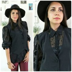 Vintage nautical blouse and vest/Black buttoned by girlsaboutcity