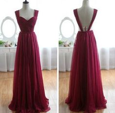 Long Chiffon Prom Dress, Burgundy Prom Gowns, Bridesmaid Dresses, Long Prom Dress, Backless Evening Dress by lass, $148.00 USD