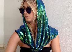 Iridescent, blue and green rave hood. Featuring a high quality sequin outside with a soft black lining. Look Festival, Rave Festival, Festival Shop, Carnival Outfits, Nye Outfits, Music Festival Outfits, Festival Fashion, Galaxy Outfit, Rave Gear