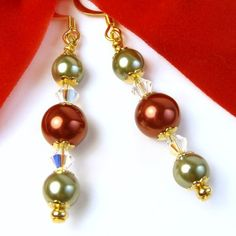 Holiday #Christmas Pearl #Earrings, Red and Green, AB Swarovski Crystals, #Handmade Dangles - $12.00 (ArtFire patron discount offered) - by #PrettyGonzo - #Jewelry #Artisan #ArtFire