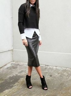Black Leather Pencil Skirt Fall Inspo by Lysana Fashion Obsessed Mode Outfits, Fall Outfits, Casual Outfits, Fashion Outfits, Edgy Work Outfits, Black Leather Pencil Skirt, Faux Leather Skirt, Black Leather Skirt Outfits, Faux Leather Jackets