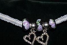 Grey Handcrafted Hemp Bracelet w/2 Black Ceramic Beads, 2 Metal Heart Charms  #Handmade #NewAge