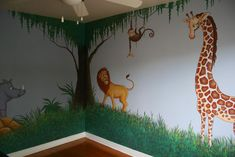 KID'S JUNGLE and ANIMAL MURAL PAINTING for Nursery Room