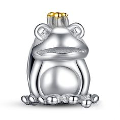 Authentic 925 Sterling Silver Frog Prince Animal Pet Charm Fit Pandora Bracelet with 14 Gold Crown Jewelry Making Silver Beads, Silver Charms, Silver Bracelets, Jewelry Bracelets, Silver Rings, Pandora, 14k Gold Jewelry, Charm Jewelry, Fitness Bracelet