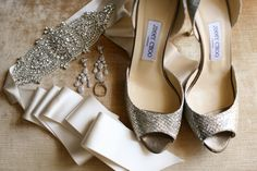 Beautiful Jimmy Choo heels and bridal accessories.   Photo by Aaron Snow Photography. www.wedsociety.com  #wedding #shoes