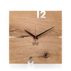 Holz-Wanduhr Puhr Tafinity eckig | dezain.de Small Lounge, Small Room Decor, Lounge Decor, Wooden Walls, Clean Design, Beams, Home Furniture, Car Seats, Interior Decorating