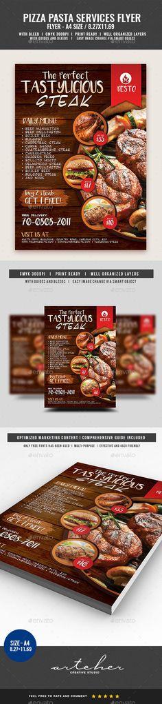 #Restaurant Fast #Food Steak Flyer - Restaurant Flyers Download here: https://graphicriver.net/item/restaurant-fast-food-steak-flyer/20023108?ref=alena994