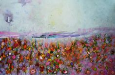 """""""Abstract floral Rainbow poppies,"""" abstract floral painting by artist Henrieta Angel available at Saatchi Art 