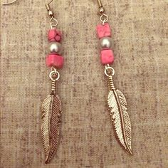 Handmade feather earrings Lightweight pewter feather earring with silver pearl and pink marble components. Handmade by yours truly. Accessories