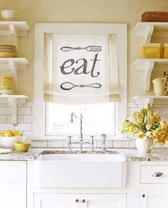 Window treatment and cheery yellow. Under The Table and Dreaming: Kitchen Window Treatment Ideas & Inspiration {blinds, shades, valances, curtains, drapery and more}