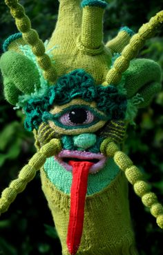 "Etsy seller Tracy Widdess's ""Brutal Knitting"" project features a number of truly remarkable soft, knitted monster masks. Brutal Knitting (via The Mary Sue) Extreme Knitting, Monster Mask, Knit Art, Yarn Bombing, Mask Design, Art Plastique, Textile Art, Textile Design, Wearable Art"