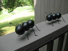 Golf Ball Crafts Garden ants from golf balls. - DIY bug crafts to do this summer with your preschooler. Ant Crafts, Garden Crafts, Crafts To Do, Garden Projects, Craft Projects, Arts And Crafts, Craft Ideas, Decor Ideas, Garden Ideas