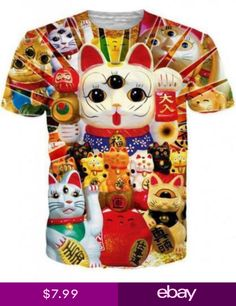 099d01d857 New Fashion WomensMens Lucky Cat Funny 3D Print Casual T-Shirt US795 Tallas  Grandes