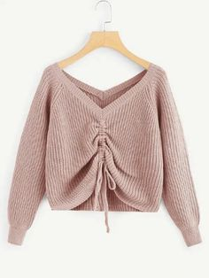 Drawstring Detail Solid Sweater Check out this Drawstring Detail Solid Sweater on Shein and explore more to meet your fashion needs! Pullover Mode, Pullover Shirt, Sweater Shirt, Pullover Sweaters, Pink Sweater, Casual Sweaters, Cute Sweaters, Cute Shirts, Sweaters For Women