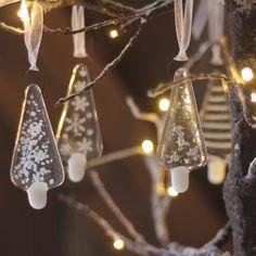 Set of 3 or 6 Glass Christmas Trees