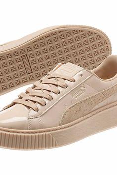 Beige Sneaker Trend: Puma Basket Platform Patent Sneaker $100