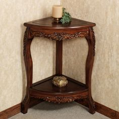 Single wooden corner shelf beautiful vintage wood fantastic alluring small accent table decor ideas home metal Corner Table Designs, Corner Accent Table, Accent Table Decor, Small Accent Tables, Coffee And End Tables, End Table Sets, Side Tables, Home Decor Furniture, Table Furniture