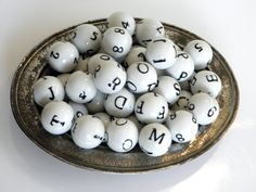 Porcelain Decorative Balls With Numbers and Letters Set of 39 Alphabet Spheres. $42.00, via Etsy.