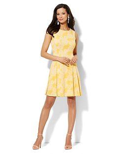 Sleeveless Flare Dress - Floral Print - New York & Company