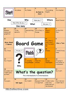 Board Game - What´s the Question (Medium) English Games, English Activities, English Fun, English Class, English Lessons, Learn English, Poetry Activities, Listening Activities, Spelling Activities