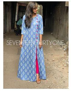 42 Ideas For Style Vestimentaire Jupe Simple Kurti Designs, Kurta Designs Women, Kurti Neck Designs, Dress Neck Designs, Salwar Designs, Kurti Designs Party Wear, Blouse Designs, Cotton Long Dress, Long Cotton Kurti