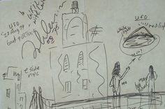 Dibujo supuestamente hecho por John Lennon sobre su avistamiento ovni en NY en 1974.
