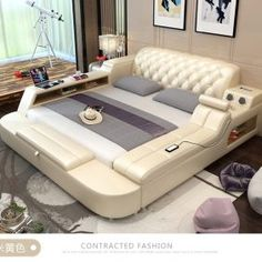This genuine leather bed frame is equipped with safe storage, speakers LED light and soft bed massager. Modern Luxury Bedroom, Luxurious Bedrooms, Luxury Interior, Interior Design, New Bed Designs, Leather Bed Frame, Smart Bed, Sliding Wardrobe Doors, Round Beds