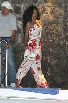 Rihanna in Positano, Italy wearing Roberto Cavalli