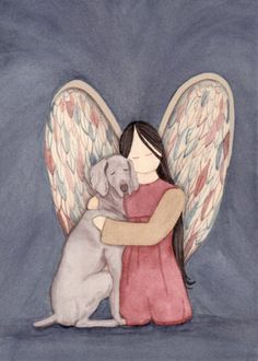 This is a professional, archival quality print by artist Cindi Lynch. This work for sale is printed from an original watercolor and hand signed on the front by the artist. It measures 5 x 7. Cindi Lynch, an award-winning and widely displayed artist, is known for her highly detailed work. We have other angel / dog prints for sale. We gladly combine shipping.