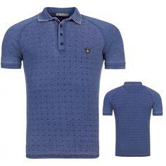 Heren Polo T-Shirt Melange Blauw