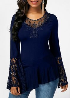 Plus Size Women Blouses Oversize Tops Spring Flare Long Sleeve Slim Blouse Fashion Lace Stitching Irregular Shirts Blusas Plus Size Shirts, Plus Size Blouses, Trendy Tops For Women, Blouses For Women, Stylish Tops For Girls, Victorian Blouse, Red Blouses, Lace Blouses, Mode Outfits