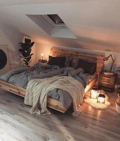 Home Interior Design This beautiful, cosy Scandinavian style bedroom. Home Interior Design This beautiful, cosy Scandinavian style bedroom. Dream Rooms, Dream Bedroom, Master Bedroom, Pretty Bedroom, Blue Bedroom, Warm Cozy Bedroom, Minamilist Bedroom, Dormer Bedroom, Travel Bedroom