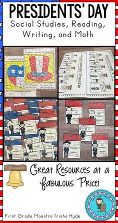 Students will learn about the Presidents of the United States of America in this Presidents day unit.  In this unit, students  will learn about the presidents George Washington and Abraham Lincoln.  Included in this unit are poems, biographies, writing activities and more. Click the Visit button to see all of the resources in this great product.