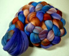 Azure Copper Dark merino wool top for spinning and by yarnwench